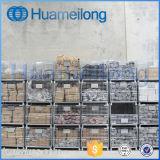 China que empila la jaula de la paleta del acoplamiento de alambre con los echadores