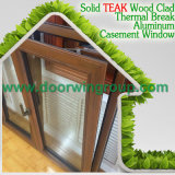Perfect Durability Aluminium Red Oaken Wood Casement Windows, vidros duplos Janelas de madeira de alumínio