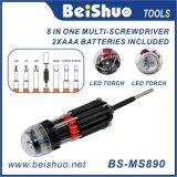 8 em 1 multi chave de fenda com a lanterna elétrica poderosa da tocha do diodo emissor de luz