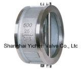 Válvula de verificação dupla a mola do aço inoxidável da bolacha da placa (H76)