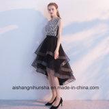 Perles Sequined hautes-basses noires avec la robe de bal d'étudiants de Rhinestones