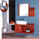 Vanité en bois fixée au mur moderne de salle de bains avec le miroir