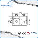 Boven de TegenGootsteen van de Keuken van Moduled van het Roestvrij staal (acs-8043)