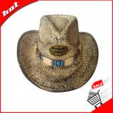 紙ひものわらの日曜日の夏のカウボーイの麦わら帽子