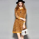 Silk nimmt Kleid-lange Hülse gedruckte Kleidung beiläufiges Frauen-Kleid ab