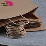 Sac de papier estampé par Cmyk de Brown de sac de papier de cadeau de taille de Meduim