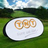 楕円形のスポーツの屋外の旗の立場の昇進のゴルフ日の表示旗を広告するフレームを現れなさい