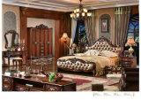 Mobilia reale della camera da letto di stile, insieme di camera da letto di cuoio, apprettatrice, guardaroba, basamento di notte (105)