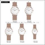 A promoção presta atenção ao relógio de pulso da senhora Simples D Estilo dos homens da forma da faixa do engranzamento