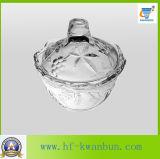 Tazones de fuente de cristal del caramelo con los utensilios de cocina Kb-Hn0371 de las etiquetas