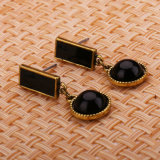 Retro Wind Geometric Shapes, Anti Allergy, Black Drop Earrings