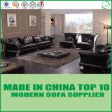 Sofá de couro preto elegante 3+2+1+1 da mobília Home luxuosa