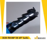 Cutoutil  4本の歯35° 螺旋形の切口の鋼鉄D20 50*100*20 固体炭化物の端製造所のツール