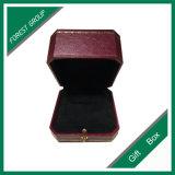 Caixa de couro luxuosa do anel do presente de casamento da qualidade