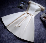 Robe 2017 de bal d'étudiants de demoiselle d'honneur de soirée de Bowknot de satin (Dream-100041)