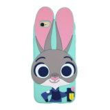 caisse de silicones de téléphone mobile de Judy de lapin du dessin animé 3D de l'iPhone 7