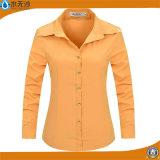 Chemisiers 2017 purs de coton de couleur de longue chemise de femmes d'usine