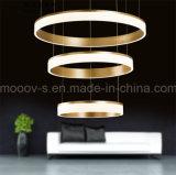 Luz de alumínio do anel de Selfie do pendente do diodo emissor de luz do círculo do ouro luxuoso moderno para a sala de visitas