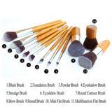 conjunto de cepillo de bambú del maquillaje de la maneta 11PCS con un bolso del cepillo