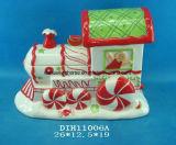 Vaso di biscotto di ceramica dipinto a mano del treno