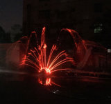 De nieuwe Fontein van het Water van de Muziek van de Vorm van de Pauw van het Roestvrij staal
