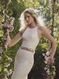 Zweiteilige Halter-oberste schlanke Brücke-geöffnetes zurück Hochzeits-Kleid (Dream-100062)