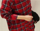 최고 간단한 여자 긴 소매를 가진 원인이 되는 격자 무늬의 셔츠