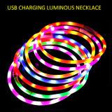 Colar de cão luminoso impermeável recarregável do diodo emissor de luz do silicone do USB
