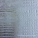 Cuero de plata del cocodrilo del Faux del PVC del melocotón