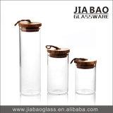 1056ml vendent le couvercle en bois de Borosilicate de choc hermétique en verre