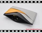 Suporte de cartão de couro magro barato novo do plutônio de Brown com película plástica