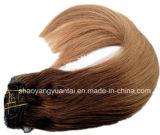 Clip en precio al por mayor de la Virgen de la extensión india/china del pelo humano