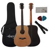 Guitarra acústica superior sólida de Dreadnaught con diseño atractivo