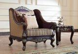 Sede e presidenza di amore classiche del sofà del tessuto con il blocco per grafici di legno per la casa