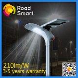 réverbère solaire de catalogue des prix de l'usine 210lm/W avec la batterie au lithium