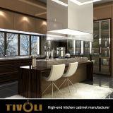 Fertigschränke für Küche mit Teakholz-Furnier-Blattinsel-Tisch Tivo-0037kh