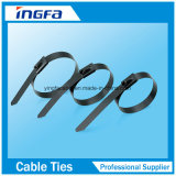 Dehnbare Stärken-Kleber-volle überzogene Kugel-verschlossene Edelstahl-Kabelbinder