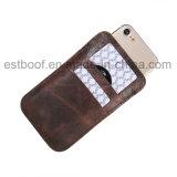 Malote do couro da camada superior com a caixa conhecida do telefone das ranhuras para cartão
