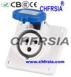 socket industrial de 3p 6h IP44 16A (ángulo) para el panel montado