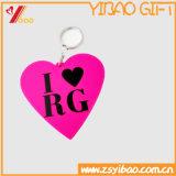 Caucho en forma de corazón de la insignia de Keychain Customed (YB-HD-142)
