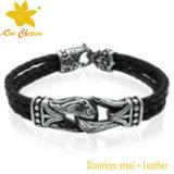 Homens de couro tecidos encanto do bracelete da escora da forma Stlb-021