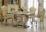 Tabela de jantar moderna da mobília com parte superior de mármore