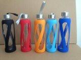 De Fles van het Glas van Borosilicate met Silicone Buiten en het Deksel van pp