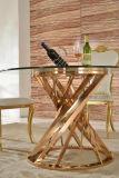 Tabella pranzante superiore di vetro libera moderna con il blocco per grafici e la base dell'acciaio inossidabile