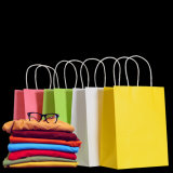 ロゴプリントが付いているカスタム贅沢なクラフト紙のショッピング・バッグ