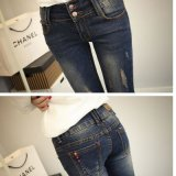 Jeans d'impression de Spandex de coton d'High Waisted de Madame de Slim Fit