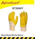 綿の連結のニトリルの上塗を施してある手袋(ST2060Y)