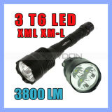 CREE Xml T6 3LED Super Bright Police LED Flashlight PAS-Rescuing 5 Modes
