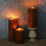 Luz sin llama superior derretida rústica de la vela del goteo LED de la vela/rasgón