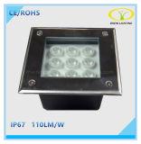 IP67 paysage extérieur 9W lumière souterraine LED avec design carré